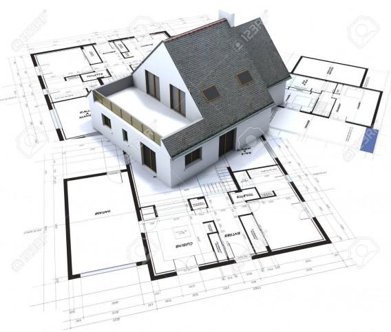 26605514-白に対して建築家-s-設計図の上に建築モデル
